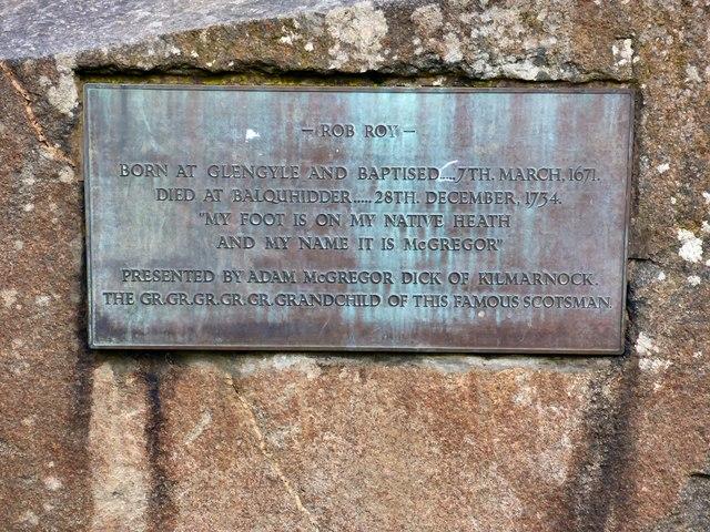 Rob Roy plaque