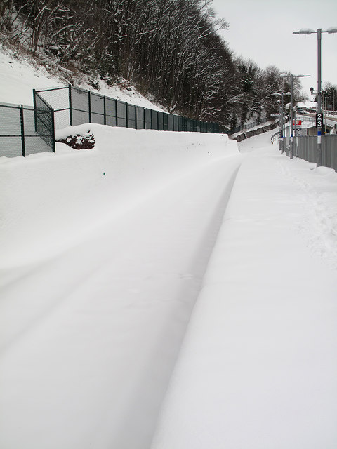 Galashiels Railway Station under snow