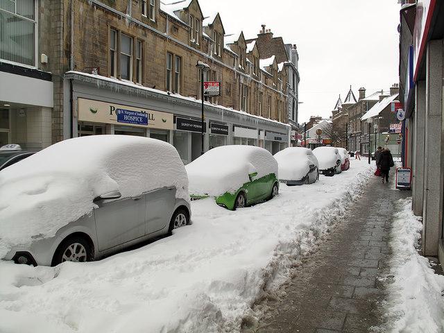 Snowed-in cars at Channel Street, Galashiels