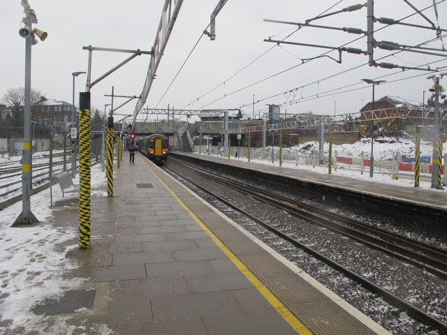 Acton Main Line station in snow