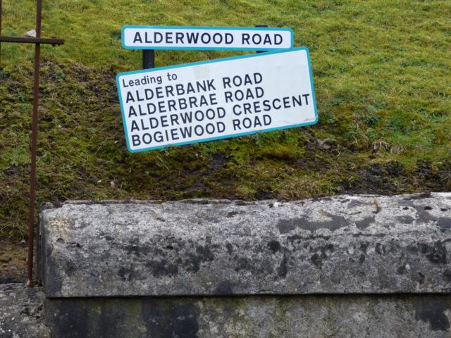 Road signs at Alderwood Road