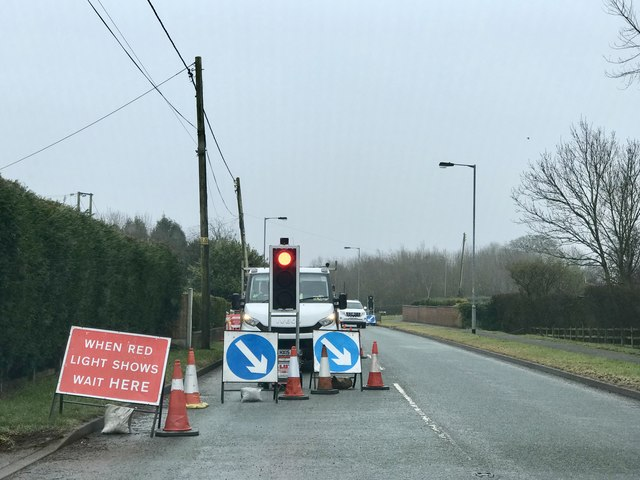 Temporary lights on High Lane, Alsagers Bank
