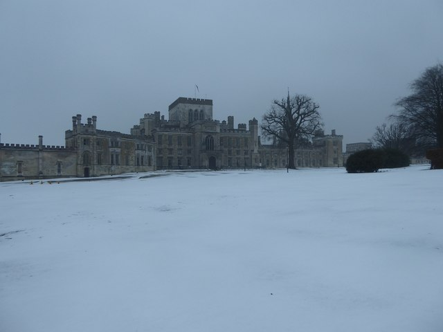 Ashridge Management College northern façade and snow