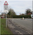 SJ3061 : Warning sign - humps to the left and right ahead, Corwen Road, Penyffordd, Flintshire by Jaggery