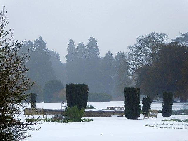 Snow covered gardens at Ashridge Management College