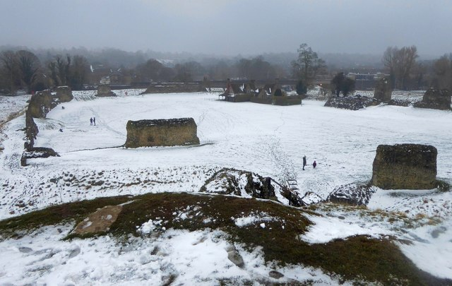 Berkhamsted Castle ruins in the snow