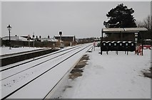 SO7845 : Snow on the railway at Great Malvern by Philip Halling