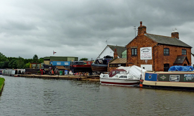 Canal at Streethay Wharf in Staffordshire