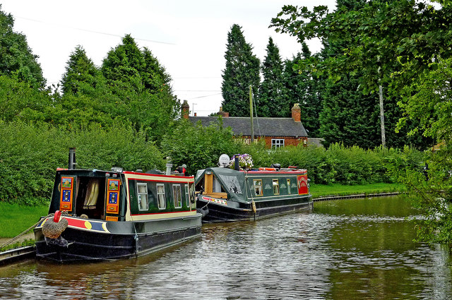 Moored narrowboats at Huddlesford in Staffordshire