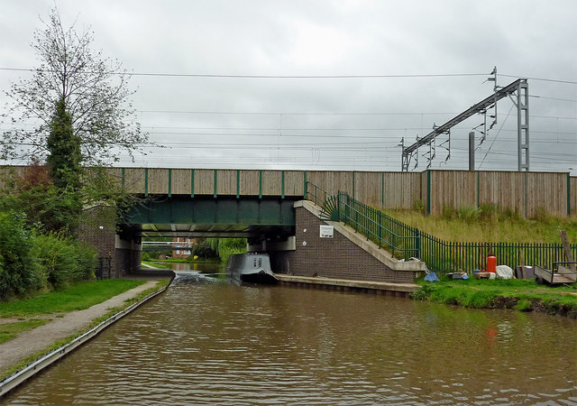 Railway bridge crossing the canal at Huddlesford in Staffordshire