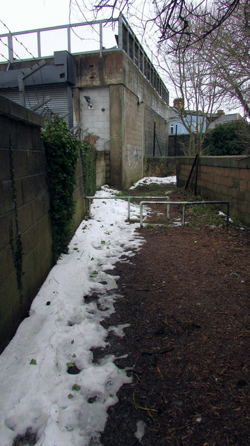 Snow on footpath by Waitrose
