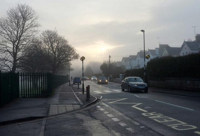 Misty morning, Cricketfield Road, Torquay