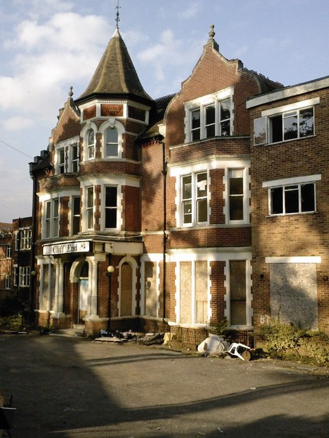 The derelict Cliff End Hotel, Boscombe, Bournemouth