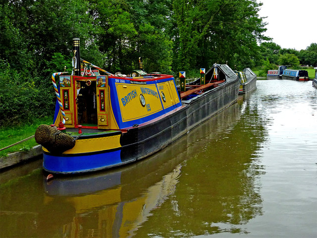 Moored working boat near Huddlesford in Staffordshire