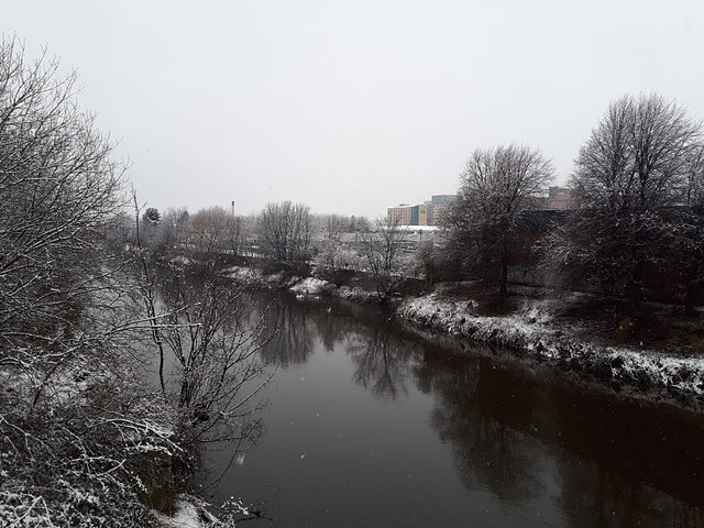 River Aire in Leeds on a snowy morning