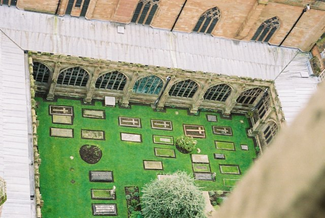 Graves in the cloister garth of Worcester Cathedral