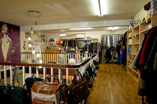 """Inside the """"Help The Aged"""" charity shop"""