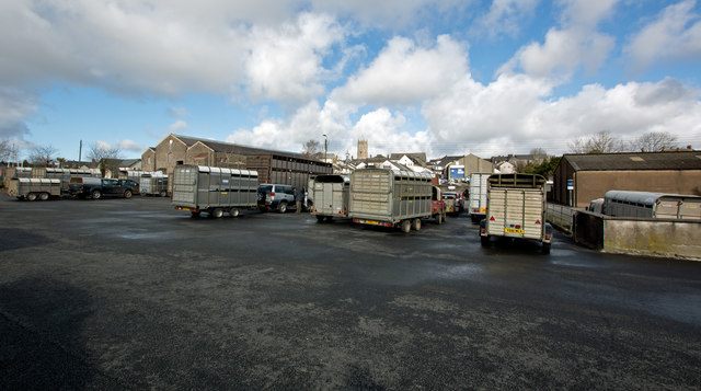South Molton Pannier Market beyond the livestock market car park