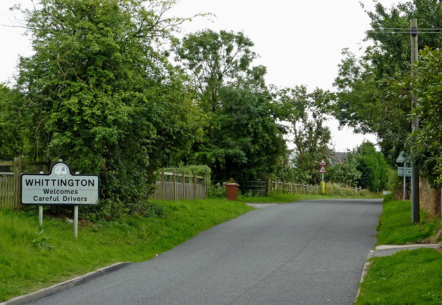 Burton Road approaching Whittington in Staffordshire
