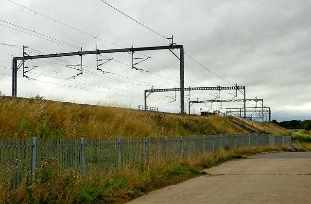 Railway line near Whittington in Staffordshire