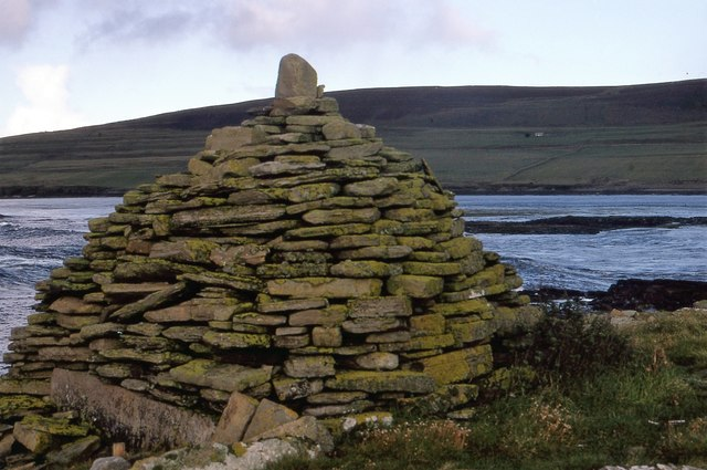 One of the three cairns marking the landing site on Eynhallow