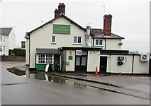 ST3090 : Reflection in a puddle outside the Three Horseshoes, Pillmawr Road, Malpas, Newport by Jaggery