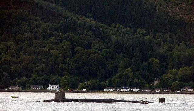 Submarine and escort passing Ardhallow