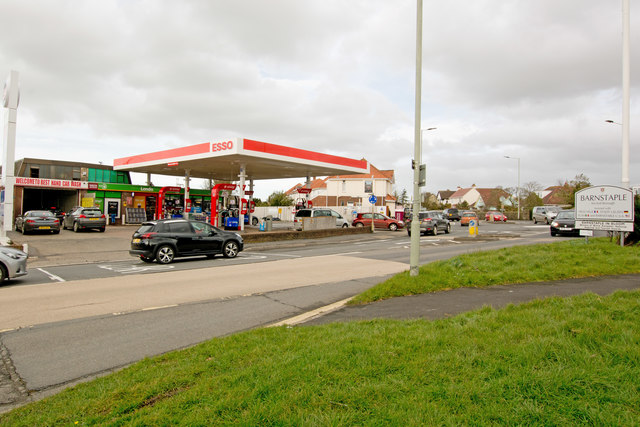 A hand car wash and a filling station on the A3125 at Sticklepath