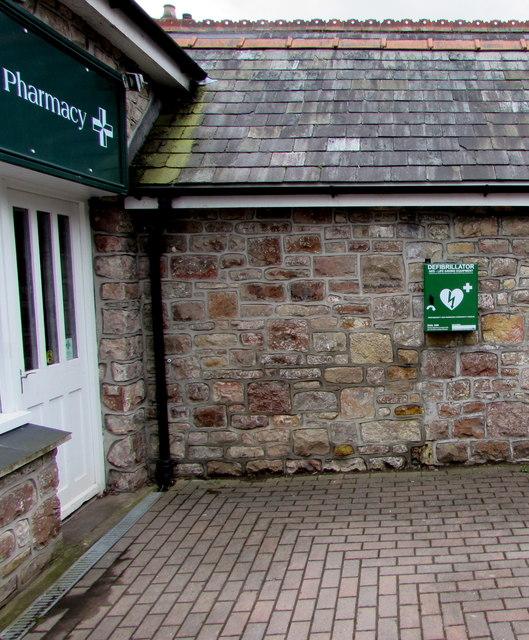 Defibrillator box on the wall of Portskewett Pharmacy, Portskewett