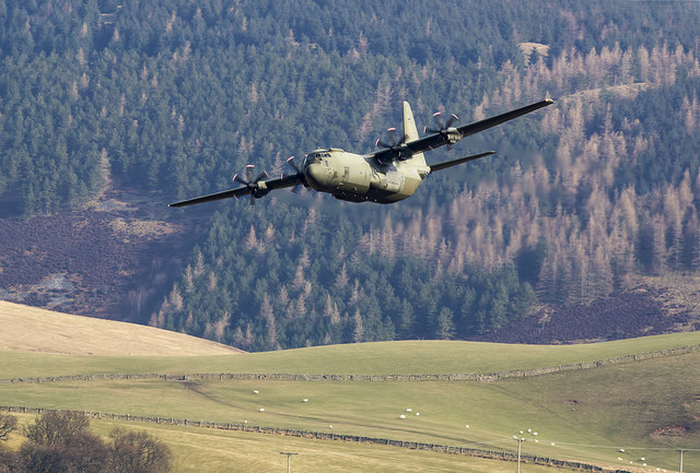 A low flying RAF Hercules in the Yarrow Valley
