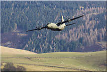 NT3728 : A low flying RAF Hercules in the Yarrow Valley by Walter Baxter