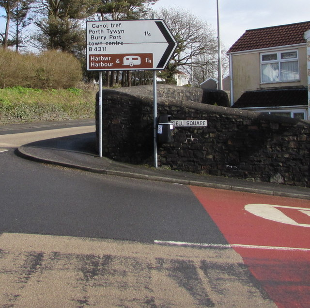 Direction and distance sign on a Pembrey corner
