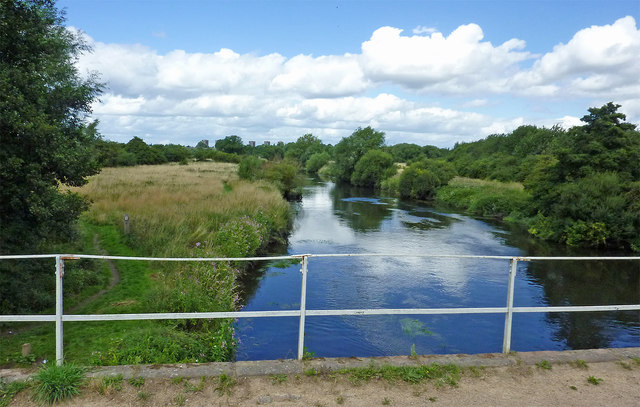 The River Tame east of Fazeley in Staffordshire