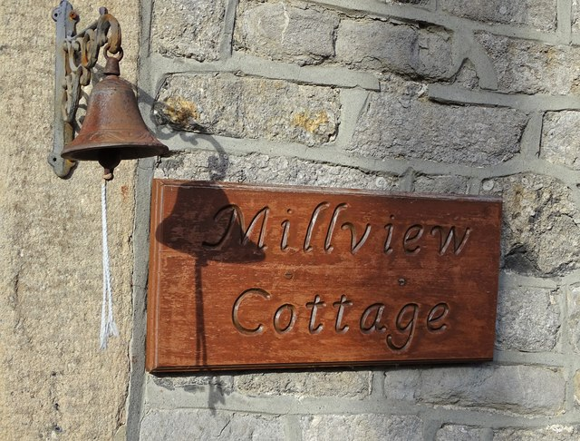 House sign and bell in Stoney Middleton