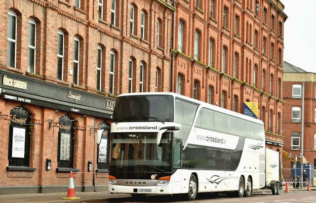 Crossland double-deck coach, Belfast (March 2018)