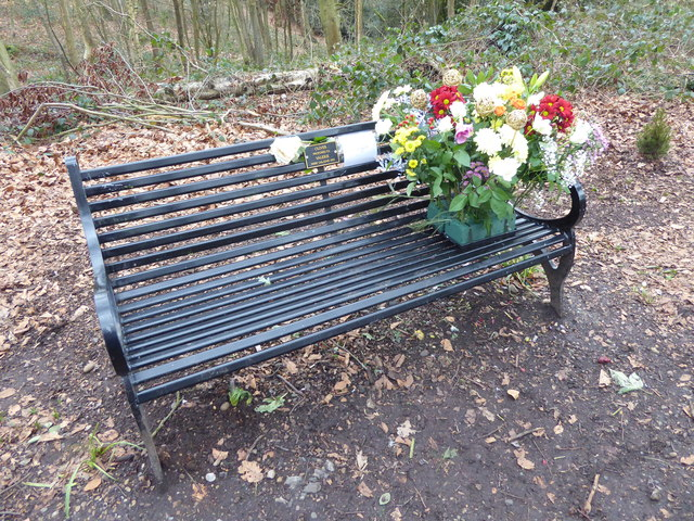A romantic memorial bench
