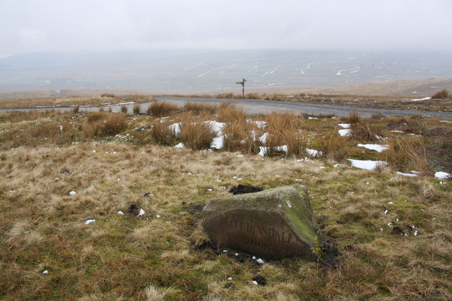 Memorial stone at junction of Pennine Way and Cam High Road