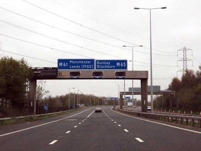Sign gantry over the M65