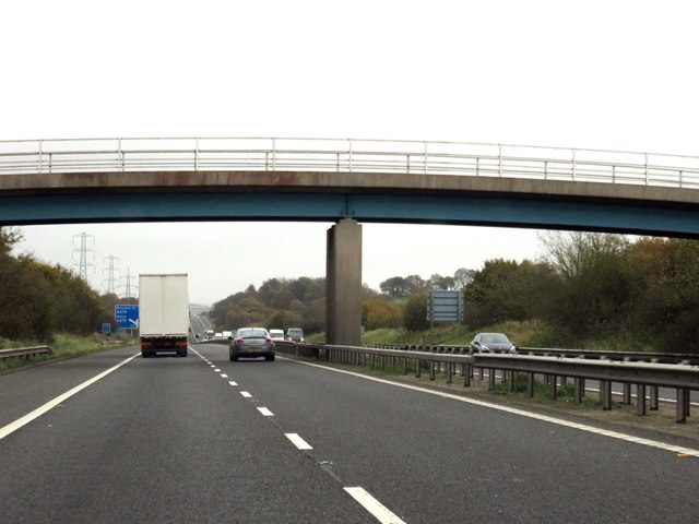The M65 runs under a farm track