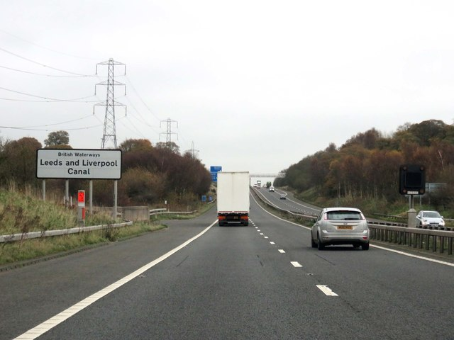 The M65 heading east over the Leeds and Liverpool Canal