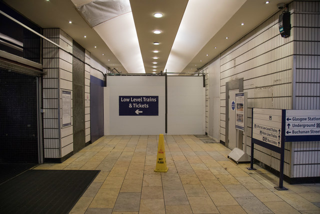 As part of the refurbishment of Glasgow Queen Street railway station the low level entrance corridor is shut