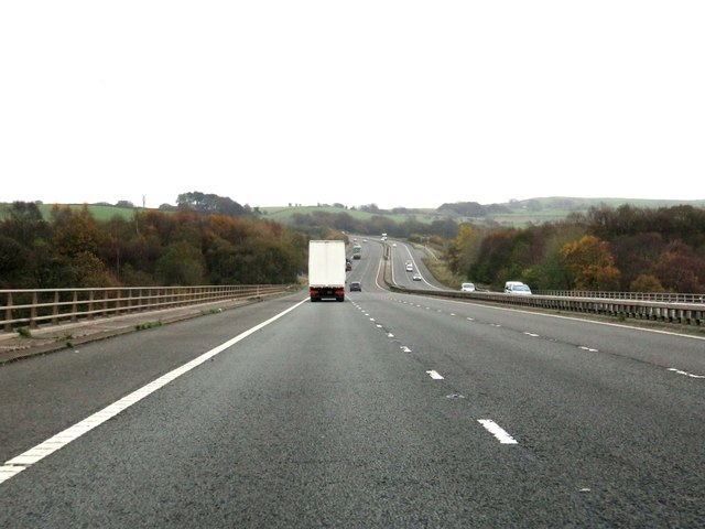 The M65 heading east over the Stanworth Viaduct