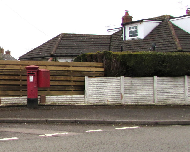 Queen Elizabeth II pillarbox and Royal Mail drop box, Main Road, Portskewett