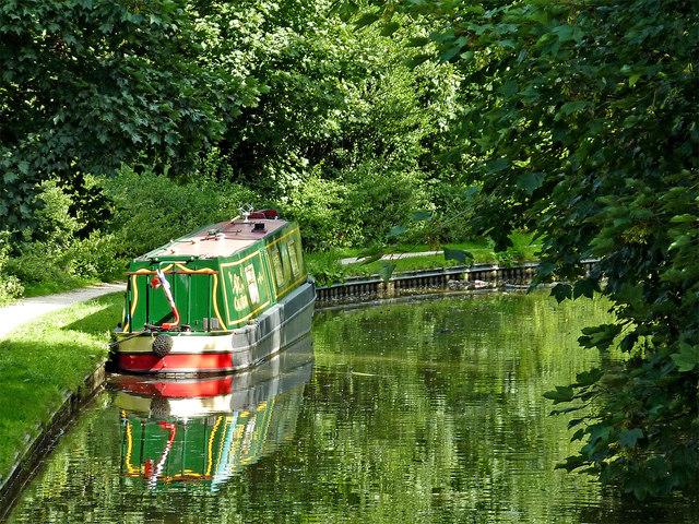 Moored narrowboat near Alvecote in Staffordshire