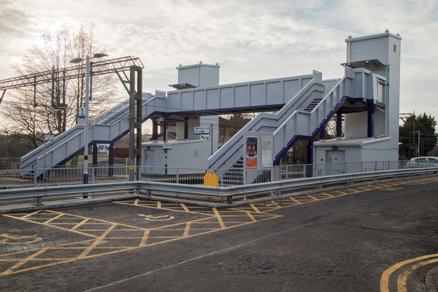 The recently installed footbridge and lifts at Westerton Railway Station