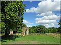 SK2504 : Picnic area by Alvecote Priory in Staffordshire by Roger  Kidd