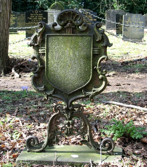 Ornate cast iron headstone in the Jewish Section