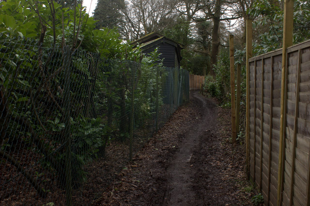 Fenced section of path towards Colley Hill