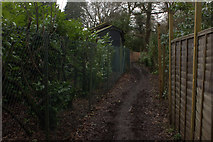 TQ2352 : Fenced section of path towards Colley Hill by Robert Eva