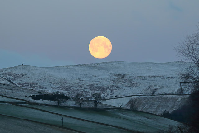 A supermoon above Mains Hill